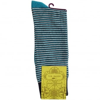 Ted Baker Turquoise Striped Contrast Socks