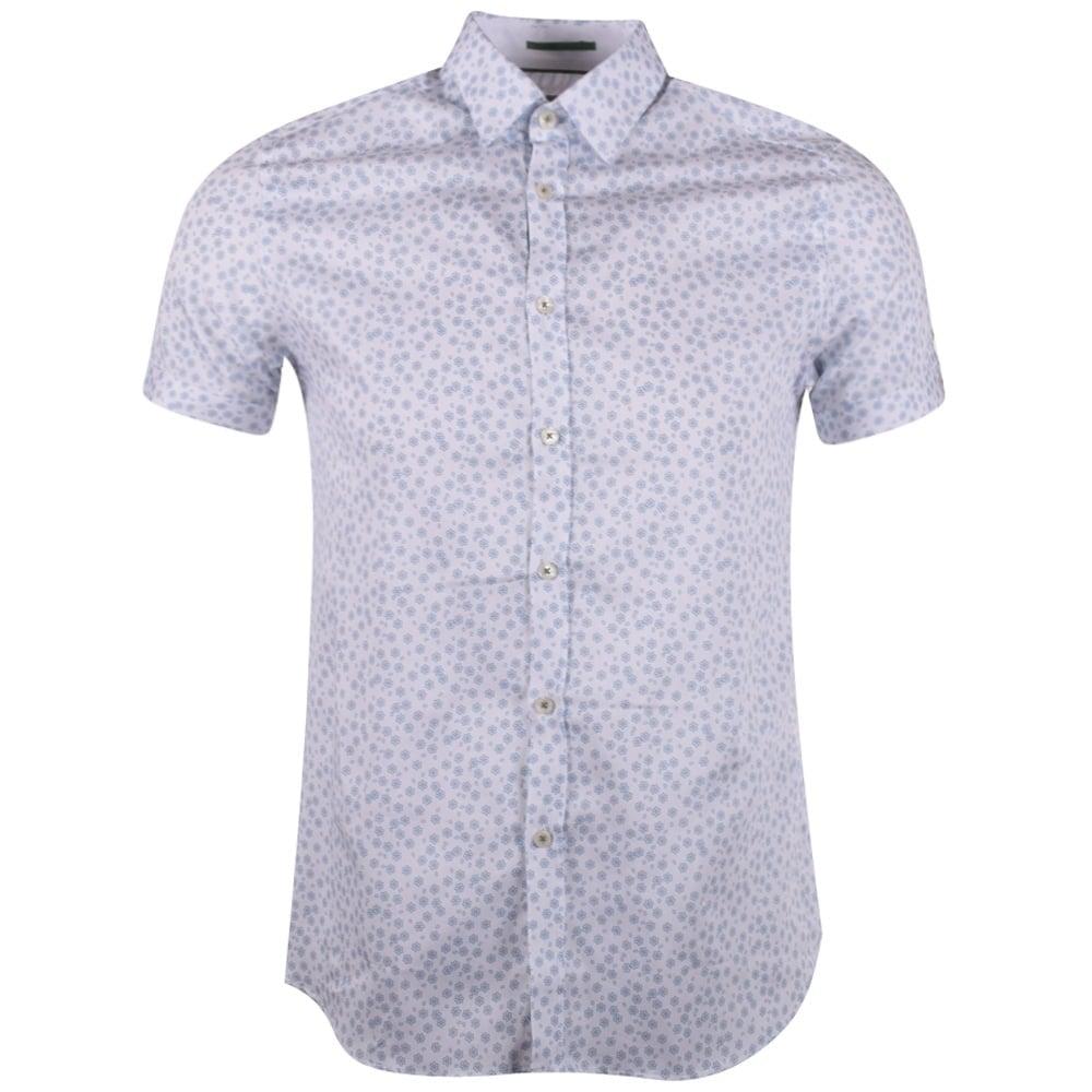 Ted Baker Ted Baker White Floral Print Short Sleeve Shirt