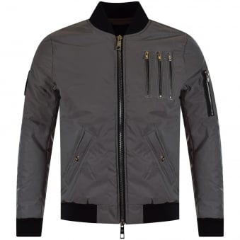 The New Designers 3M Reflective Grey Zip Detailed Bomber Jacket