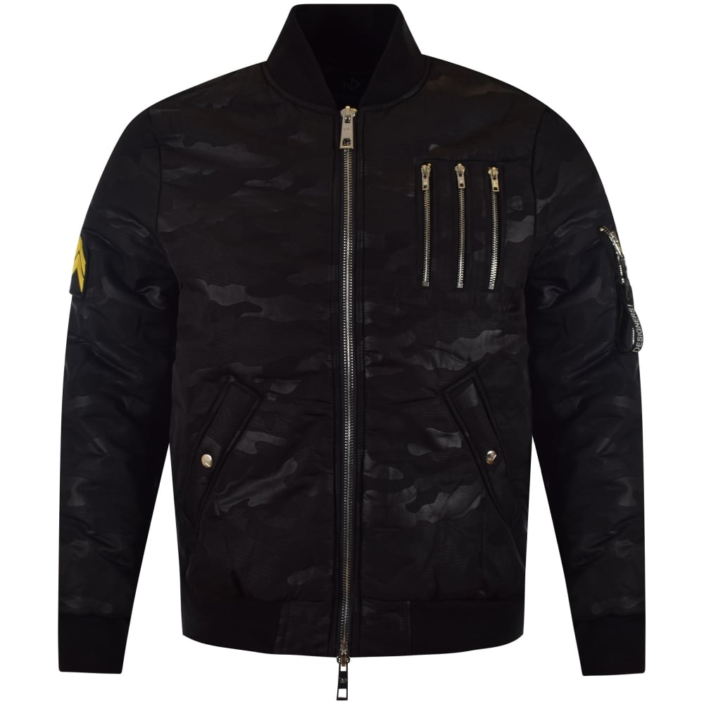 THE NEW DESIGNERS The New Designers Black Camo Zip Bomber Jacket ...