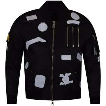 The New Designers Black/White Patch Lightweight MA1 Bomber Jacket