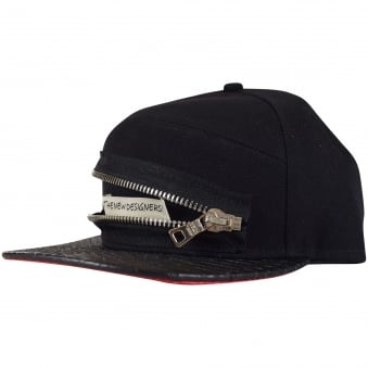 The New Designers Black Zip Front Detail Snapback