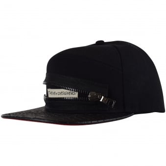 The New Designers Black Zip Logo Snapback Cap
