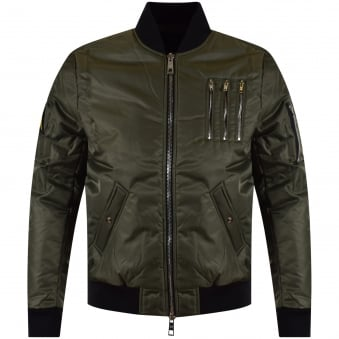 The New Designers Khaki Zip Bomber Jacket