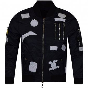 The New Designers Navy/White Patch Lightweight MA1 Bomber Jacket