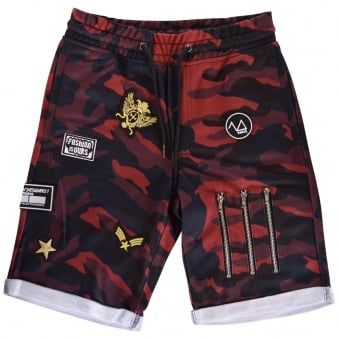 The New Designers Red Camo Patch Jogger Shorts