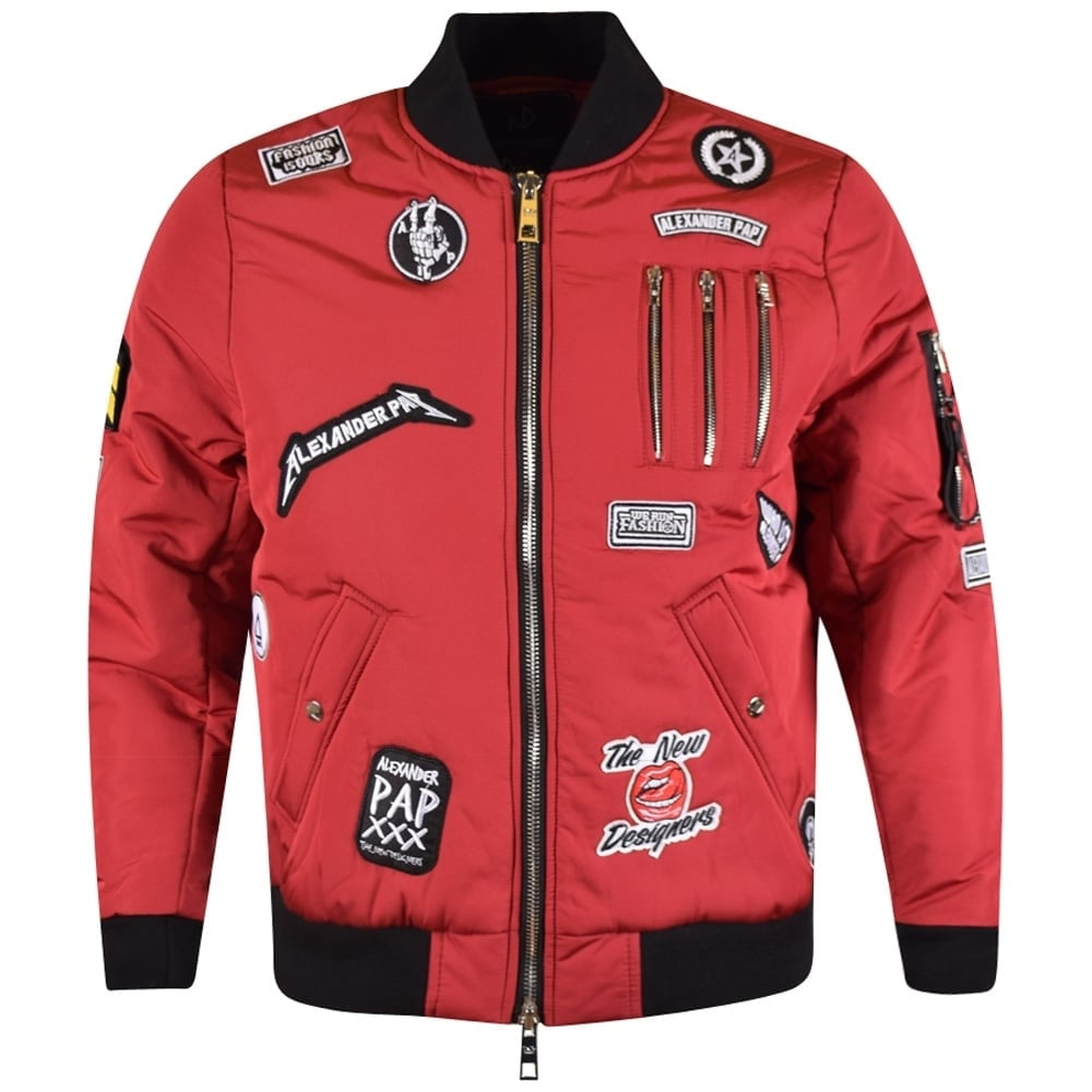 THE NEW DESIGNERS The New Designers Red Patch Bomber Jacket - Men ...