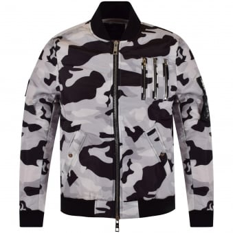 The New Designers White Camo Bomber Jacket