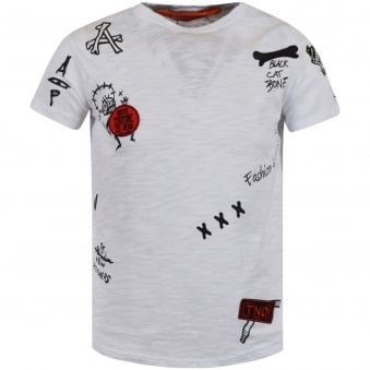 The New Designers White Multi Patch Logo T-Shirt