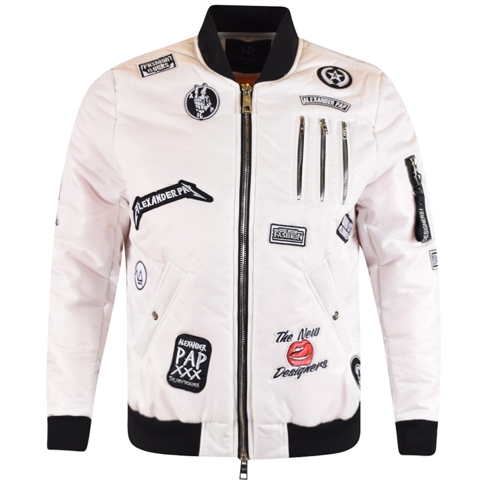 THE NEW DESIGNERS The New Designers White Patch Bomber Jacket ...