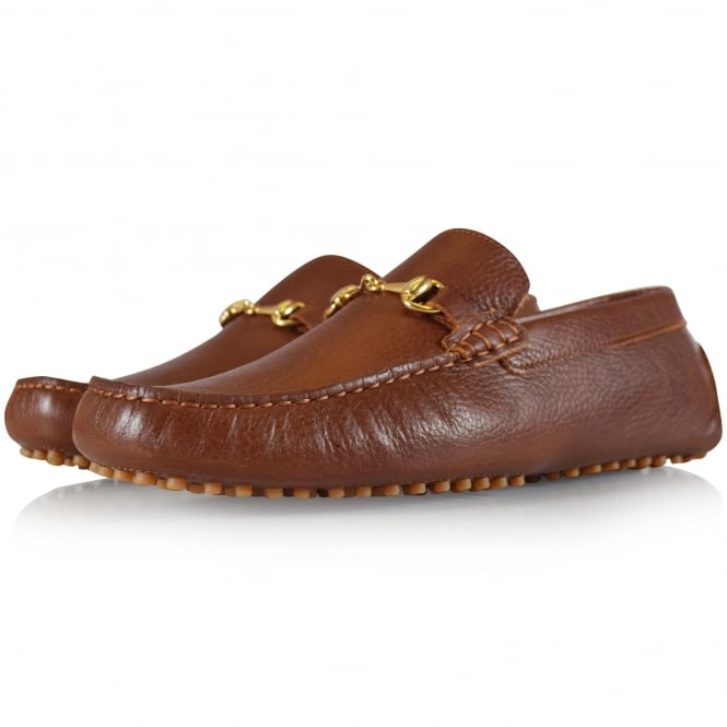 THOMAS FINLEY Brown Leather Buckle Loafers