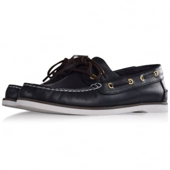 Thomas Finley Navy Leather Boat Shoes