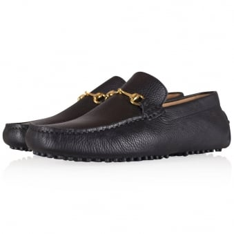 Thomas Finley Black Leather Buckle Loafers