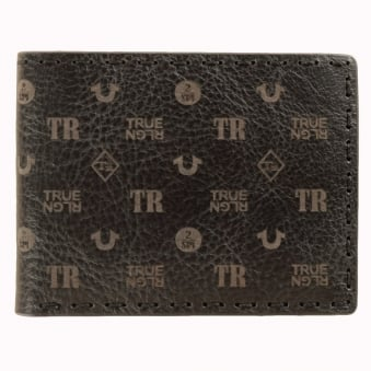 True Religion Black All-Over Print Genuine Leather Wallet