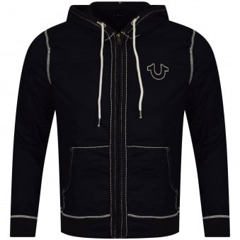 True Religion Black Big Stitch Hoodie