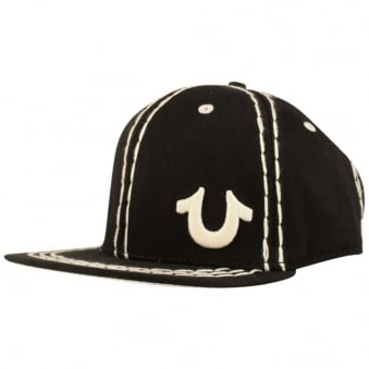 True Religion Black Big Stitch Strapback