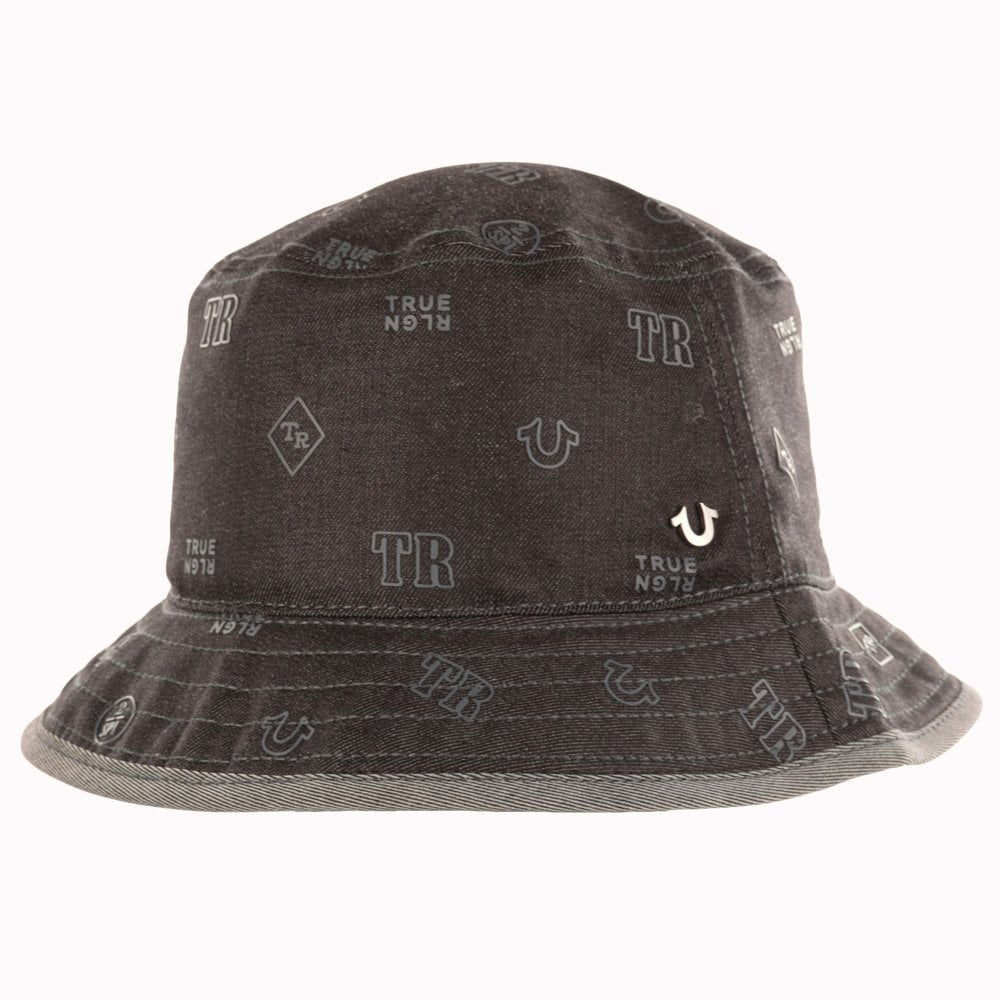 true religion true religion black denim all over print bucket hat men from brother2brother uk. Black Bedroom Furniture Sets. Home Design Ideas