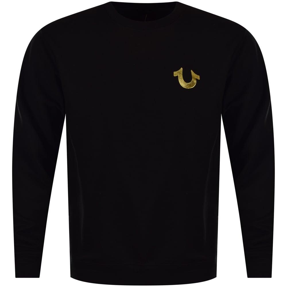 add9e746 True Religion Black/Gold Back Logo Sweatshirt