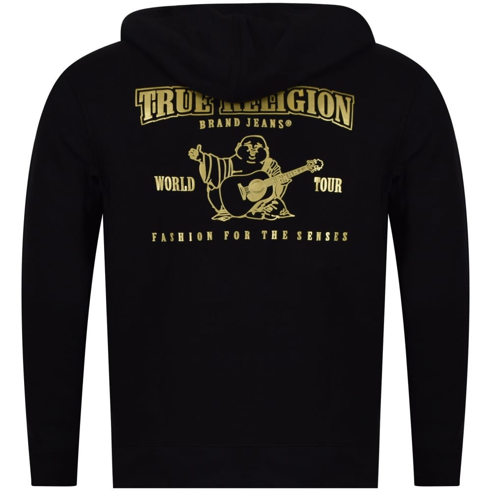 a2a87d230 TRUE RELIGION True Religion Black Gold Back Logo Zip Hoodie ...
