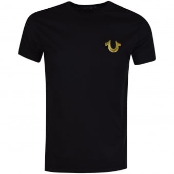 True Religion Black/Gold Buddha Logo T-Shirt