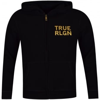 True Religion Black & Gold Hoof Drip Logo Zip Up Hoodie