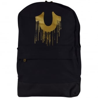 True Religion Black/Gold Logo Backpack