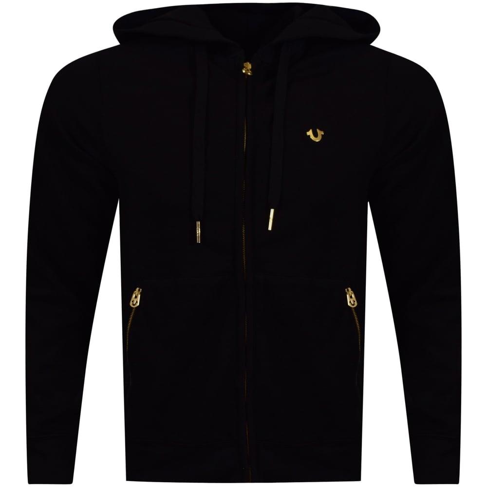 aa8106c3c TRUE RELIGION True Religion Black Gold Metal Logo Zip Up Hoodie ...