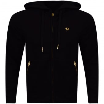 True Religion Black/Gold Metal Logo Zip Up Hoodie