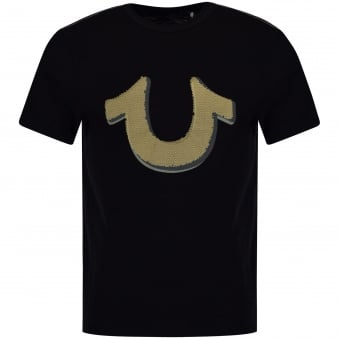 True Religion Black Large Horseshoe Print T-Shirt