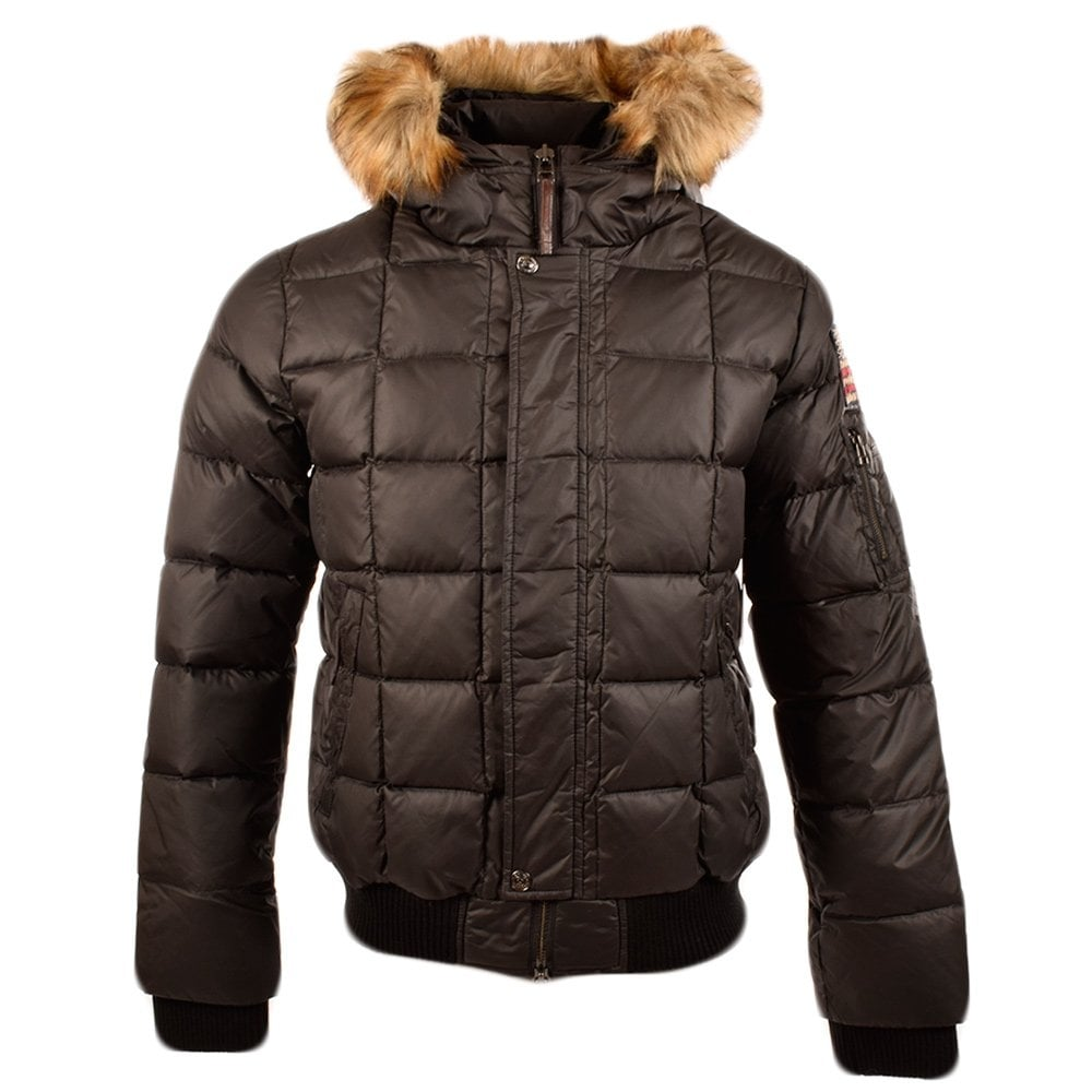 true religion true religion black padded down jacket with fur hood men from brother2brother uk. Black Bedroom Furniture Sets. Home Design Ideas