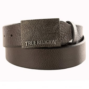 True Religion Black Textured Genuine Leather Belt