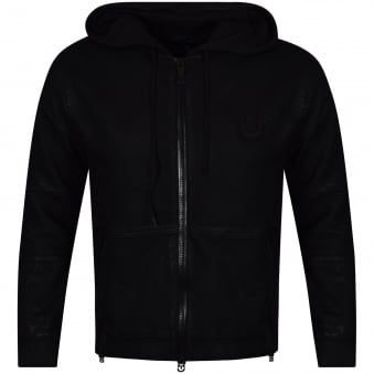 True Religion Black Waxed Biker Zip Up Hoodie