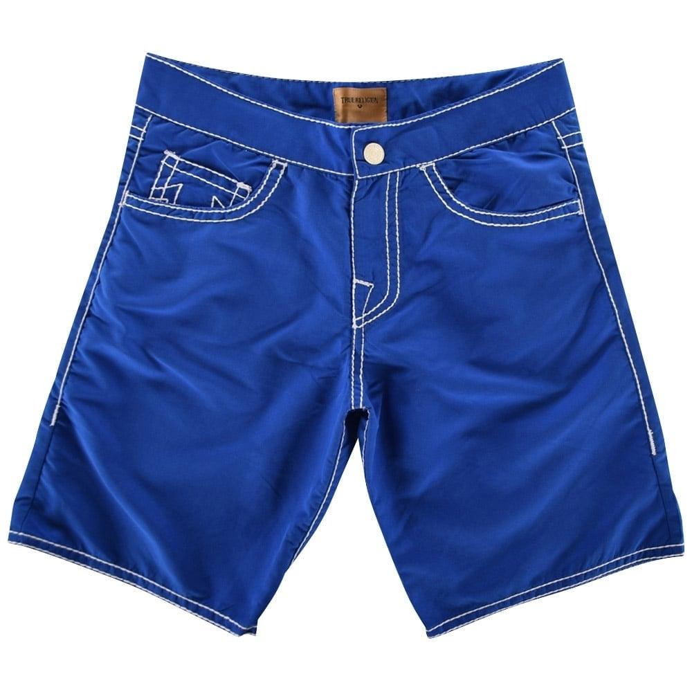 dffa776109 TRUE RELIGION True Religion Blue Ricky Big T Swim Shorts ...