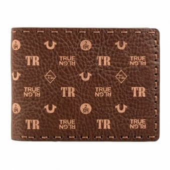 True Religion Brown All-Over Print Genuine Leather Wallet