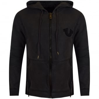 True Religion Dark Grey Biker Side Zip Hoodie