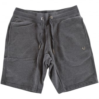 True Religion Dark Grey/Silver Logo Jersey Shorts