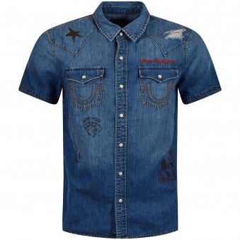 True Religion Denim Distressed All Over Logo Short Sleeve Shirt
