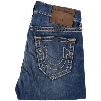True Religion Flagstone Geno Relaxed Slim Blue Jeans