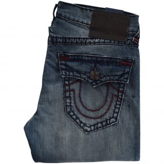 True Religion Geno Mid Distressed Wash Relaxed Slim Jeans