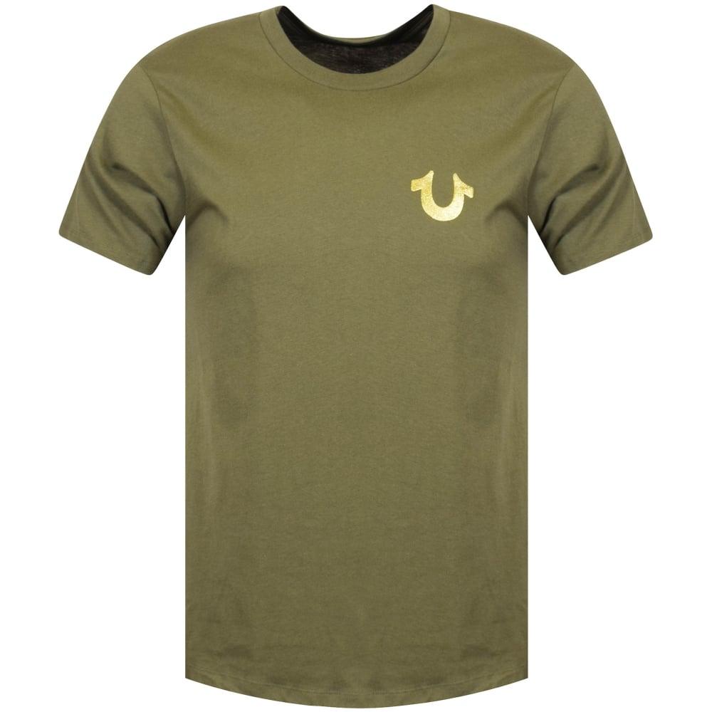 178a13db TRUE RELIGION True Religion Green/Gold Buddha Logo T-Shirt - Men ...