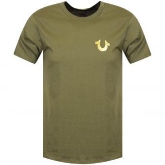 30c1e2d5d93a True Religion Green Gold Buddha Logo T-Shirt