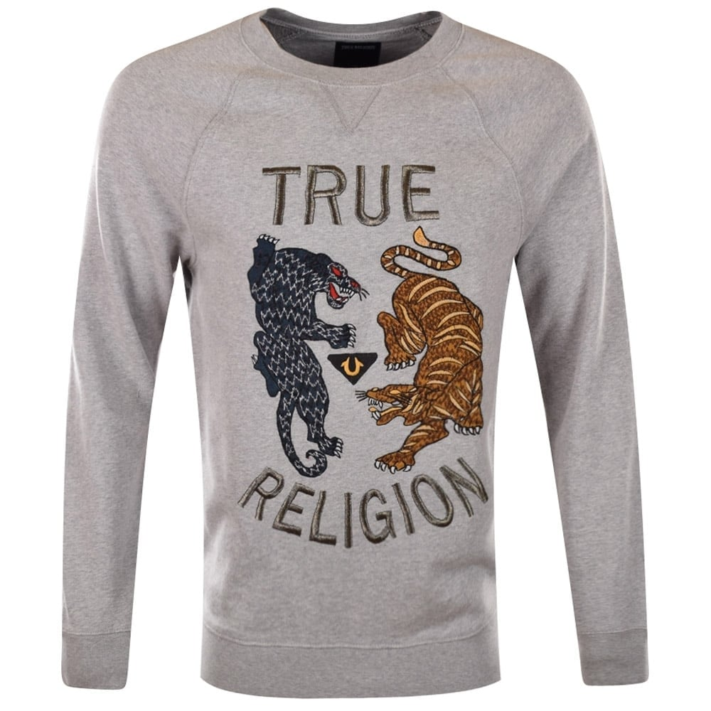 true religion true religion grey animal longline sweatshirt men from brother2brother uk. Black Bedroom Furniture Sets. Home Design Ideas
