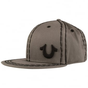 True Religion Grey Big Stitch Strapback