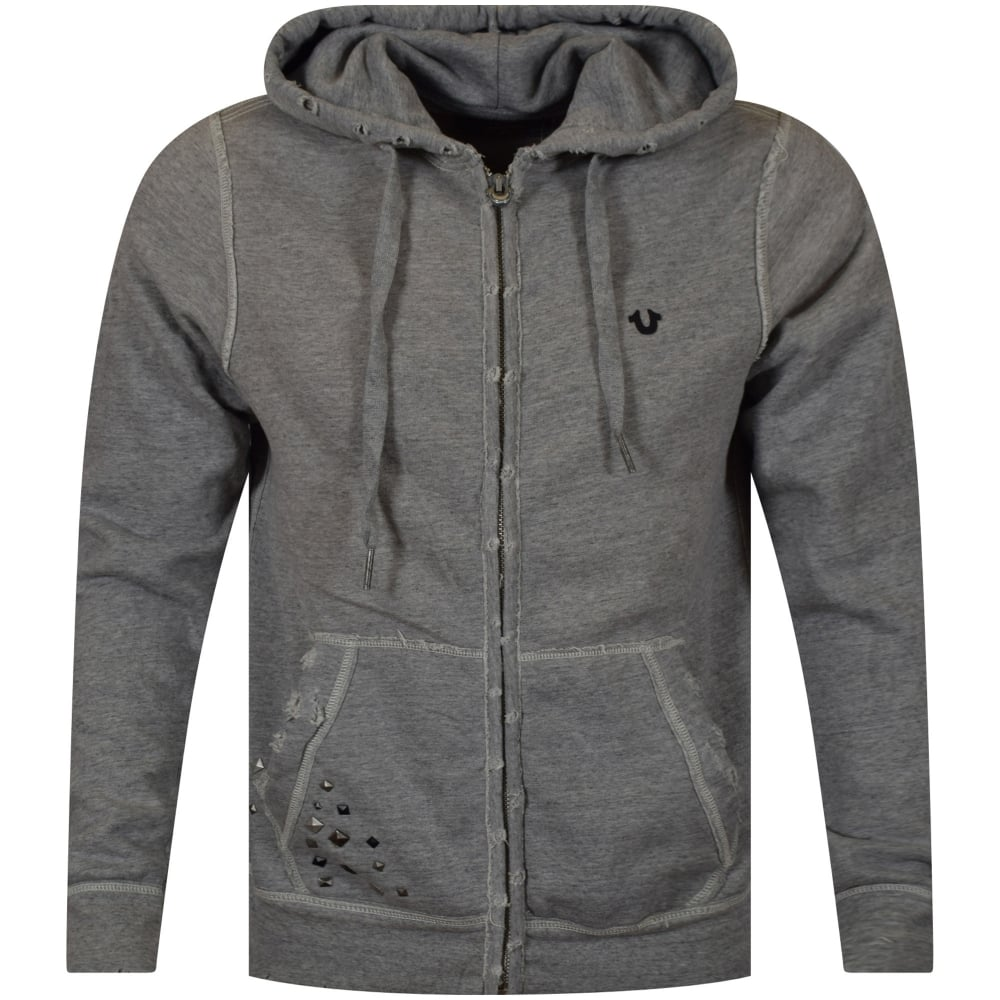true religion true religion grey distressed logo zip up hoodie men from brother2brother uk. Black Bedroom Furniture Sets. Home Design Ideas