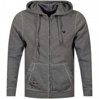True Religion Grey Distressed Logo Zip Up Hoodie