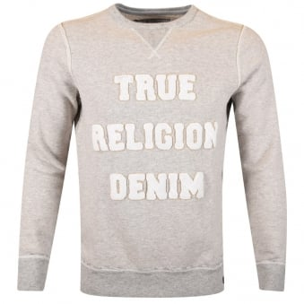 True Religion Grey Flannel Text Sweatshirt