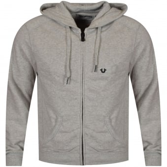 True Religion Heather Grey Metal Logo Hoodie