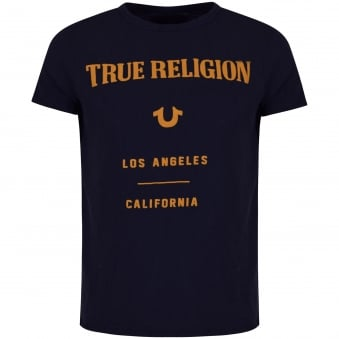 True Religion Indigo Blue Puffy Text T-Shirt