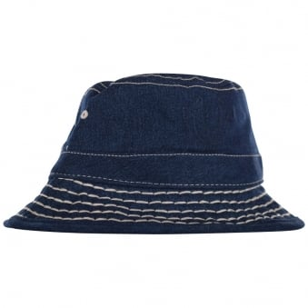 True Religion Indigo Denim Big Stitch Bucket Hat
