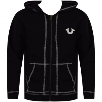 True Religion Junior Black Crafted with Pride Zip Through Hoodie